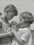 Children Boy Girl Sharing Drinking Glass Using Straws Photographic Print by H. Armstrong Roberts
