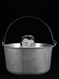 1950s-1960s Symbolic Montage Portrait Man in the Soup Looking Wide Eyed from Inside the Kettle Photographic Print by H. Armstrong Roberts