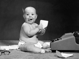 1960s Eager Baby Accountant Working at Adding Machine Photographic Print by H. Armstrong Roberts