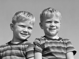1950s Portrait Two Twin Blond Boys Smiling Wearing Striped Tee Shirts Brothers Photographic Print by D. Corson