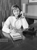 Secretary Receptionist Talking on Telephone Writing into Desk Calendar Photographic Print by H. Armstrong Roberts