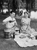 Man Woman Couple Having a Summer Picnic Outdoors Drinking Beer Photographic Print by H. Armstrong Roberts