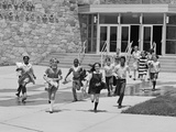 Boys and Girls Students Running Out of School Photographic Print by H. Armstrong Roberts