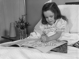 Little Girl Patient in Hospital Bed Writing in Coloring Book Photographic Print by H. Armstrong Roberts