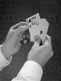 Male Hands Holding Hand Poker Cards 4 Aces and a King Photographic Print by H. Armstrong Roberts