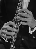 Male Hands Playing Clarinet Fotoprint van H. Armstrong Roberts