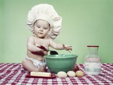 1960s Baby Wearing Chef Hat Spoon Mixing Bowl and Baking Ingredients Photographic Print by H. Armstrong Roberts