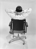 Man from Behind Sitting in Office Executive Chair Hands Clasped Behind Neck Photographic Print by H. Armstrong Roberts