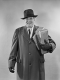 Smiling Man Carrying Shopping Boxes Wearing Hat Coat Gloves Photographic Print by H. Armstrong Roberts