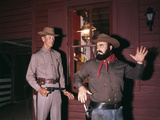 1960s-1970s Western Sheriff Arrests Bearded Cowboy About to Draw Gun Photographic Print by D. Corson