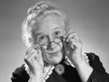 1950s Portrait of Smiling Old Lady Holding Her Antique Wire Frame Glasses Photographic Print by H. Armstrong Roberts