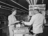 Woman Paying at Grocery Store Checkout Male Cashier Photographic Print by H. Armstrong Roberts