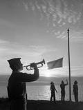 1960s Boy Scouts at Camp Sunset Lower American Flag Bugle Taps 4 Boys Uniform Silhouetted Photographic Print by D. Corson