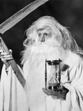 1950s Costume Elderly Man Long Beard Angel of Death Sickle Scythe Hourglass Father Time Photographic Print by D. Corson