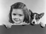 1940s-1950s Portrait of Little Girl with Small Dog Photographic Print by H. Armstrong Roberts