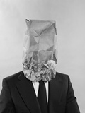Man Business Suit Paper Bag over His Head Photographic Print by H. Armstrong Roberts