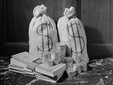 Still Life of Coins Bills and Money Bags with Dollar Signs Photographic Print by H. Armstrong Roberts