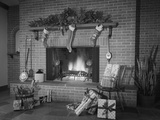 Stockings Hung by Fireplace and Wrapped Christmas Presents Photographic Print by H. Armstrong Roberts