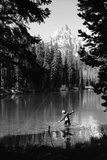 1960s Man Fishing Holding Net and Rod Wyoming Grand Teton National Park String Lake Photographic Print by D. Corson