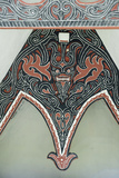 Detail of Traditional Batak Tribal Painted Carving with Stylised Buffalo Horns Photographic Print by Annie Owen