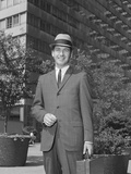 Portrait Businessman Wearing Hat Suit Holding Briefcase Photographic Print by H. Armstrong Roberts