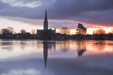 Salisbury Cathedral at Dawn Reflected in the Flooded West Harnham Water Meadows Photographic Print by Julian Elliott