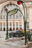 The Art Nouveau Entrance to Gare Du Nord Metro Station with the Main Railway Station Behind Photographic Print by Julian Elliott