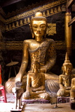 Ancient Gilded Wooden Buddhas Inside Wat In Photographic Print by Lee Frost