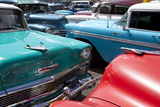 Vintage American Cars Parked on a Street in Havana Centro Photographic Print by Lee Frost