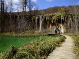 Wooden Walkway (Boardwalk) and Waterfalls in Plitvice Lakes National Park Photographic Print by Simon Montgomery