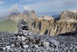 Stone Cairn on Sass Pordoi Mountain in the Dolomites Near Canazei Photographic Print by Martin Child