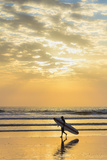 Surfer with Long Board at Sunset on Popular Playa Guiones Surf Beach Photographic Print by Rob Francis