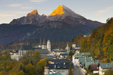 View over Berchtesgaden and the Watzmann Mountain at Sunrise Photographic Print by Miles Ertman