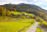 Bicycle Path Through Rural Mountain Landscape in Autumn Photographic Print by Miles Ertman