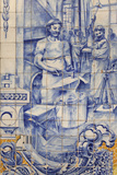 A Blacksmith's Workshop Depicted on Traditional Portuguese Azulejo Tiles on a Building in Alfama Photographic Print by Stuart Forster