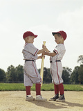 Two Boys Holding Baseball Bat Little League Uniforms Photographic Print by H. Armstrong Roberts