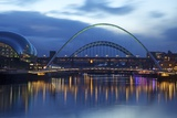Gateshead Quays with Sage Gateshead and Millennium Bridge at Night Photographic Print by Peter Barritt