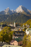 View of Berchtesgaden in Autumn with the Watzmann Mountain in the Background Photographic Print by Miles Ertman