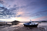 Winter Sunrise on the Aln Estuary Looking Towards Church Hill with Boats Moored and Reflections Photographic Print by Lee Frost