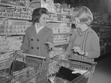 Two Women Talking Shopping Supermarket Photographic Print by H. Armstrong Roberts