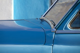 Detail of Vintage Blue American Car Against Painted Blue Wall Photographic Print by Lee Frost