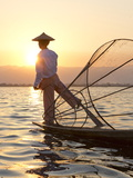 Intha 'Leg Rowing' Fishermen at Sunset on Inle Lake Photographic Print by Lee Frost