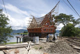Construction of Traditional Style Batak House with Bamboo Scaffolding Photographic Print by Annie Owen