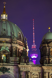 Close-Up of the Berliner Dom (Cathedral) with the Television Tower in the Background at Night Photographic Print by Miles Ertman