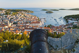 Hvar Fortress Cannon and Hvar Town at Sunset Taken from the Spanish Fort (Fortica) Photographic Print by Matthew Williams-Ellis