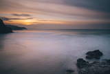 Porthtowan Beach Looking Along the Cornish Coastline at Sunset Photographic Print by Mark Doherty