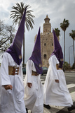 Penitents During Semana Santa (Holy Week) Beneath Torre Del Oro, Seville, Andalucia, Spain, Europe Photographic Print by Stuart Black