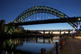 Gateshead Quays with Tyne Bridge and River Tyne Swing Bridge at Night Photographic Print by Peter Barritt