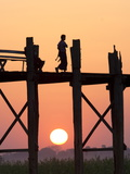 Local Man Walking on the Famous U Bein Teak Bridge at Sunset, Near Mandalay, Myanmar (Burma), Asia Photographic Print by Lee Frost