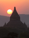 View over the Temples of Bagan at Sunset Photographic Print by Lee Frost